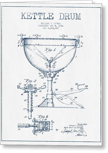 Kettle Greeting Cards - Kettle Drum Drum Patent Drawing from 1941  - Blue Ink Greeting Card by Aged Pixel