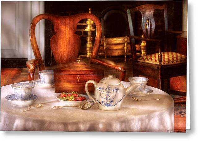Tea Party Greeting Cards - Kettle -  Have some Tea - Chinese tea set Greeting Card by Mike Savad