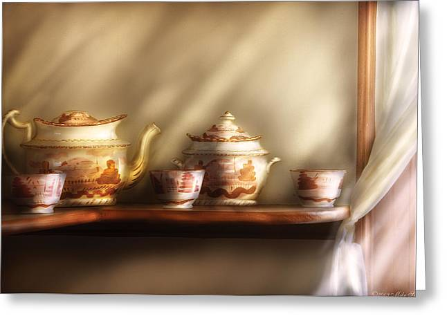 Affordable Kitchen Art Greeting Cards - Kettle - My Grandmothers Chinese Tea Set  Greeting Card by Mike Savad