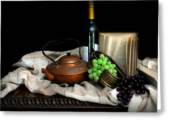 Table Cloth Greeting Cards - Kettle with Grapes Greeting Card by Diana Angstadt