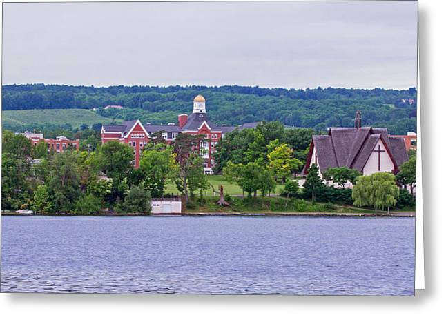 Keuka Greeting Cards - Keuka College - Ball Hall and Norton Chapel from the lake Greeting Card by Photographic Arts And Design Studio