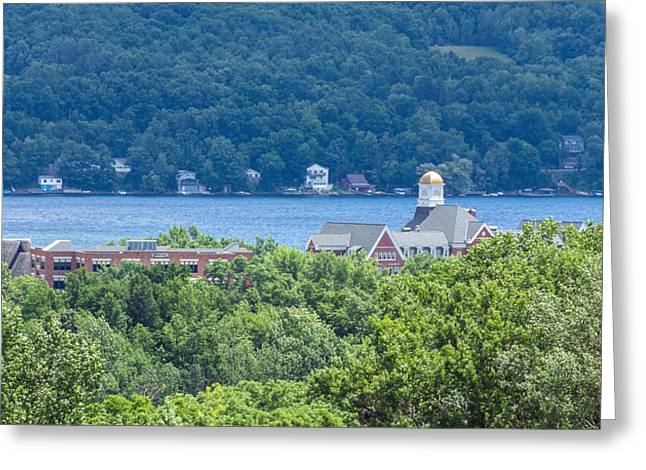 Fingerlakes Greeting Cards - Keuka College from Above Greeting Card by Photographic Arts And Design Studio