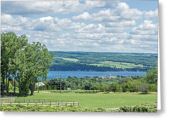 Wolfpack Greeting Cards - Keuka Lake and Keuka College Wide Angle Greeting Card by Photographic Arts And Design Studio