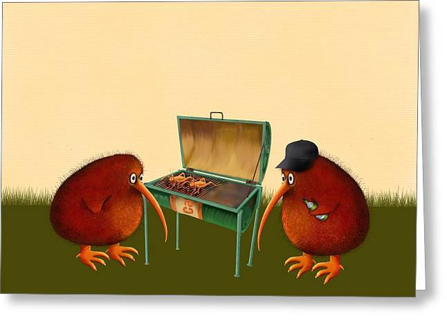 Barbeque Greeting Cards - Kev and Trev Greeting Card by Marlene Watson