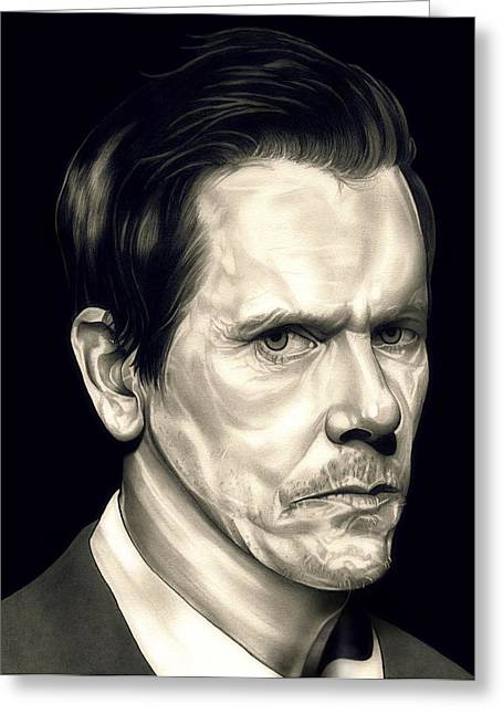Mass Murder Greeting Cards - Kevin Bacon - The Following Greeting Card by Fred Larucci