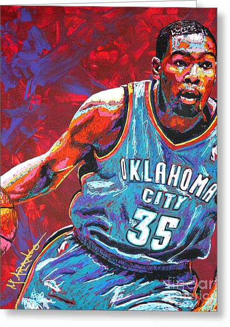 Basketball Paintings Greeting Cards - Kevin Durant 2 Greeting Card by Maria Arango