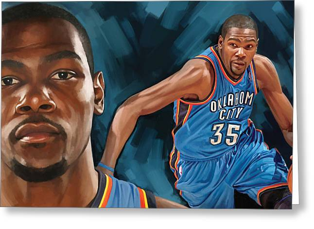 Sports Art Print Greeting Cards - Kevin Durant Artwork Greeting Card by Sheraz A