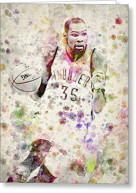 Dunks Greeting Cards - Kevin Durant in color Greeting Card by Aged Pixel