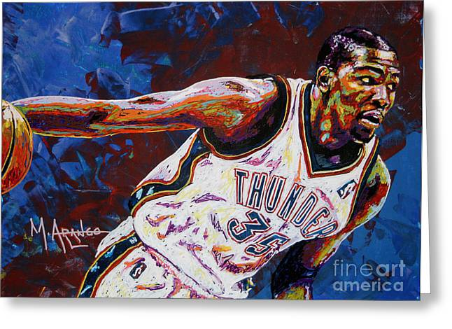 Hoop Greeting Cards - Kevin Durant Greeting Card by Maria Arango