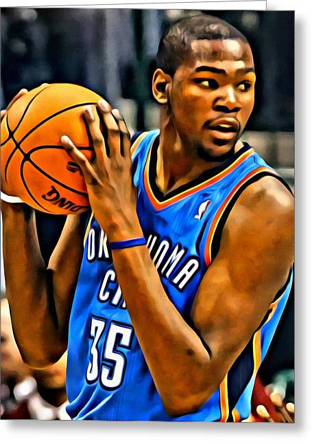 Best Sellers -  - Slamdunk Greeting Cards - Kevin Durant Portrait Greeting Card by Florian Rodarte