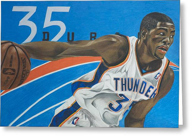 All-star Mixed Media Greeting Cards - Kevin Durant Greeting Card by Ryan Doray