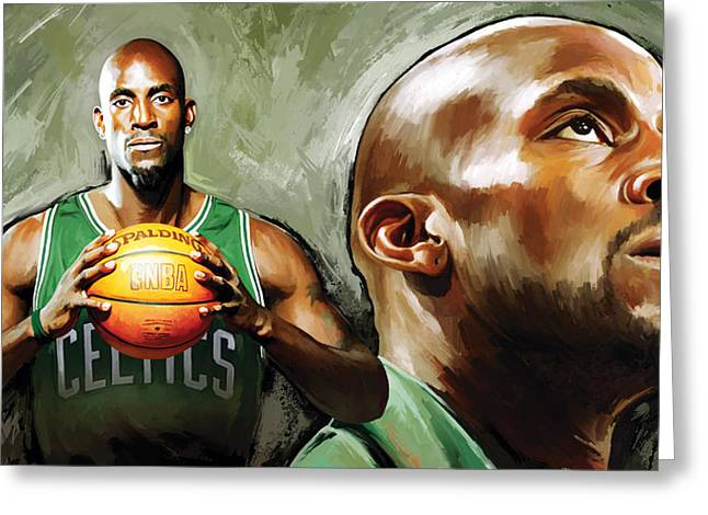 Kevin Garnett Art Greeting Cards - Kevin Garnett Artwork 1 Greeting Card by Sheraz A