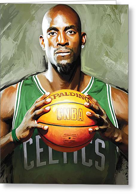 Nba Basketball Greeting Cards - Kevin Garnett Artwork 2 Greeting Card by Sheraz A