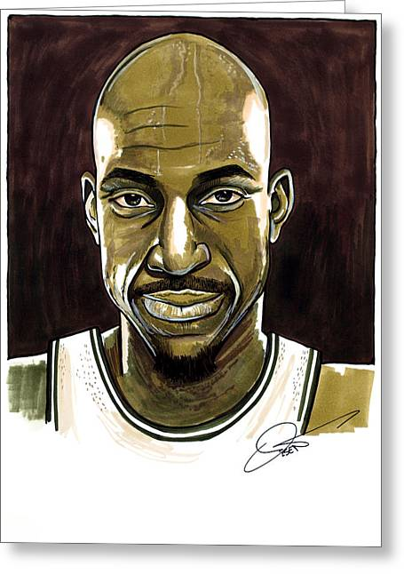 Boston Celtics Drawings Greeting Cards - Kevin Garnett Portrait Greeting Card by Dave Olsen