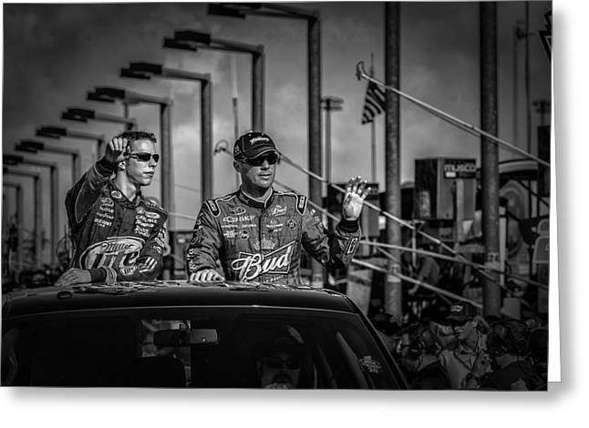 Kevin Harvick And Brad Keslowski Greeting Card by Kevin Cable