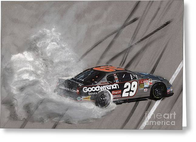 Kevin Harvick-victory Burnout Greeting Card by Paul Kuras