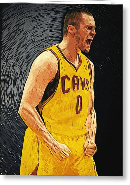 Minnesota Timberwolves Digital Greeting Cards - Kevin Love  Greeting Card by Taylan Soyturk