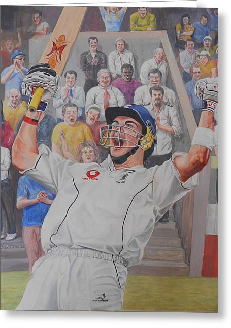 Cricketers Greeting Cards - Kevin Pieterson Greeting Card by David Paterson