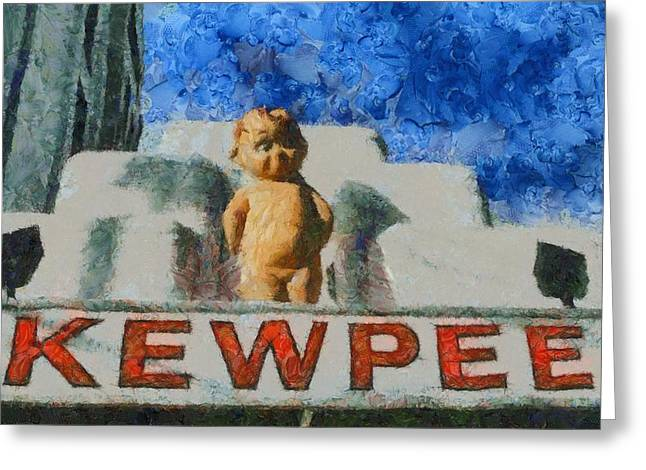 Cheeseburger Paintings Greeting Cards - Kewpee Restaurant Lima Ohio Greeting Card by Dan Sproul