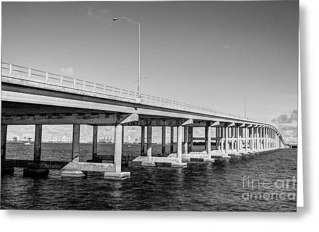 Key Biscayne Bridge Bw Greeting Card by Eyzen M Kim