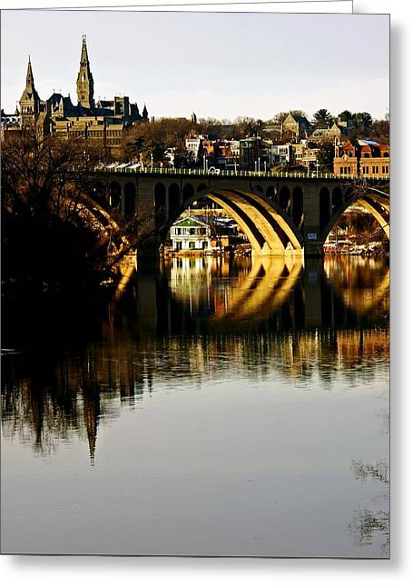 Recently Sold -  - Roadway Greeting Cards - Key Bridge and Georgetown  Greeting Card by Bill Jonscher
