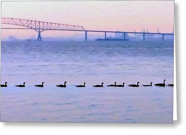 Sfx Greeting Cards - Key Bridge and Waterfowl Greeting Card by Brian Wallace