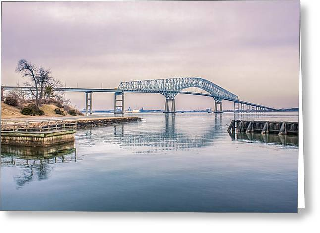 Francis Greeting Cards - Key Bridge In Winter Greeting Card by Rob Sellers