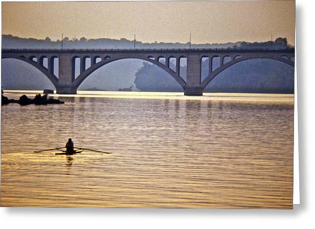 Francis Greeting Cards - Key Bridge Rower Greeting Card by Stuart Litoff