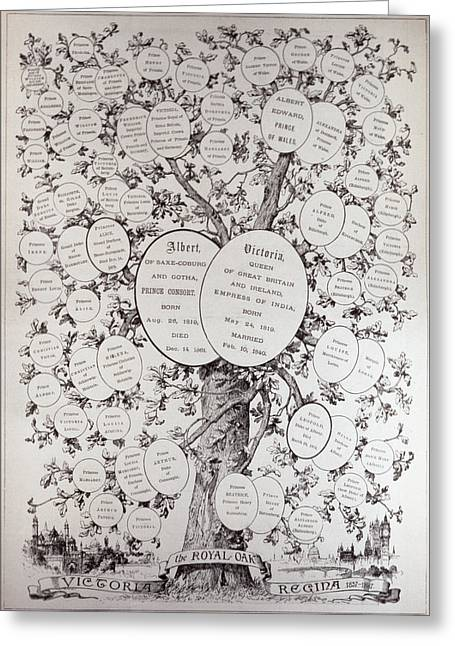 Lineage Greeting Cards - Key To Genealogical Tree, Showing The Descendants Of Her Majesty Queen Victoria 1819-1901, From The Greeting Card by English School