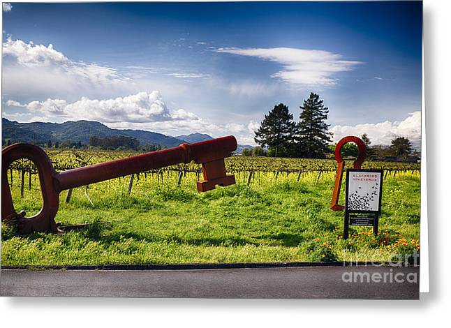 Wine Scene Greeting Cards - Key To Napa Valley Greeting Card by George Oze