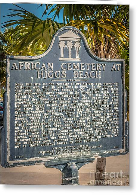 Liberal Greeting Cards - Key West African Cemetery Sign Portrait - Key West - HDR Style Greeting Card by Ian Monk