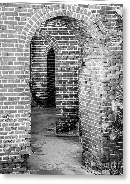 Old West Photography.america Photography Greeting Cards - Key West Arches - Black and White Greeting Card by Ian Monk