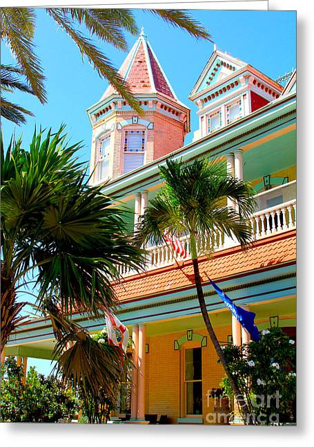 Caribbean Architecture Greeting Cards - Key West Greeting Card by Carey Chen