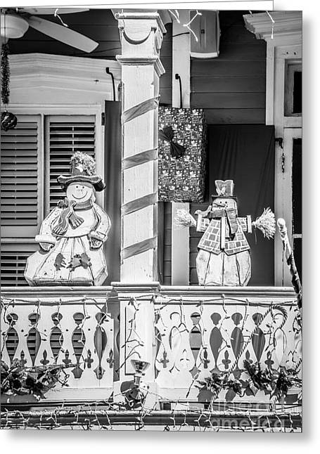 Liberal Greeting Cards - Key West Christmas Decorations 2 - Black and White Greeting Card by Ian Monk