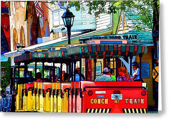 Store Fronts Greeting Cards - Key West Conch Train Greeting Card by Pamela Blizzard