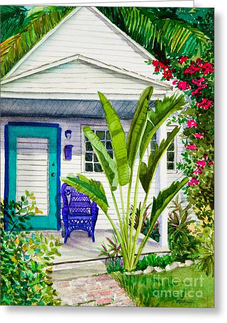 Tropical Plants Greeting Cards - Key West Cottage Watercolor Greeting Card by Michelle Wiarda