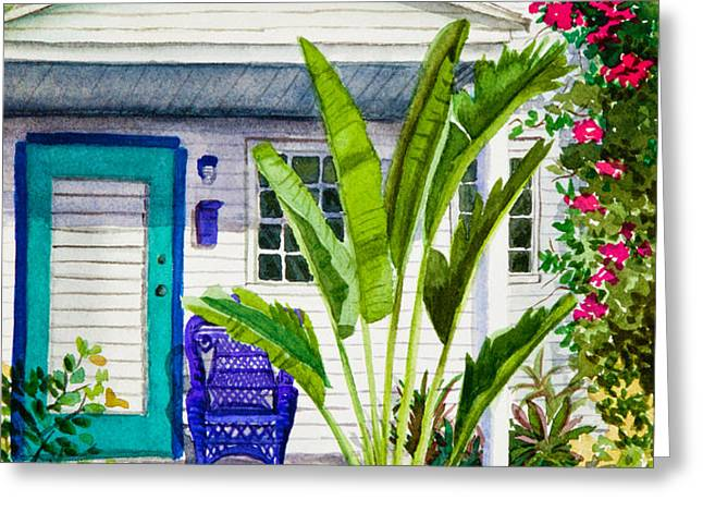 Key West Cottage Watercolor Greeting Card by Michelle Wiarda