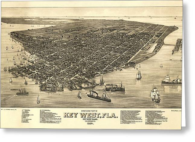Key West Florida Map 1884 Greeting Card by Daniel Hagerman