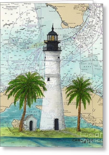 Havanna Greeting Cards - Key West Lighthouse FL Nautical Chart Map Art Greeting Card by Cathy Peek