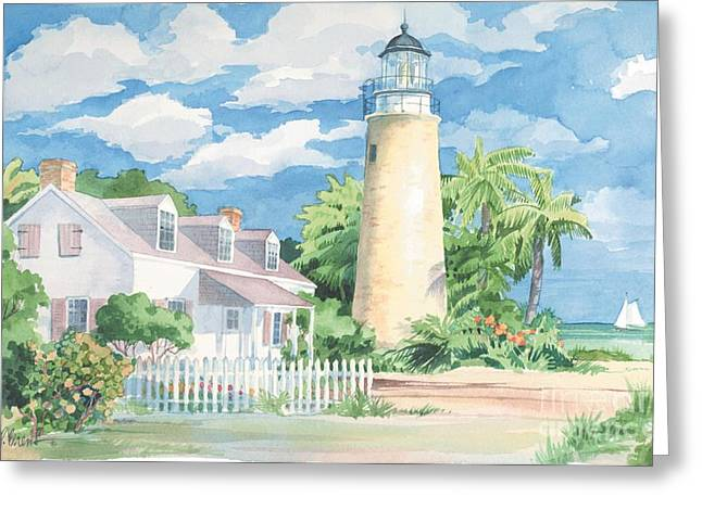Green Roses Greeting Cards - Key West Lighthouse Greeting Card by Paul Brent