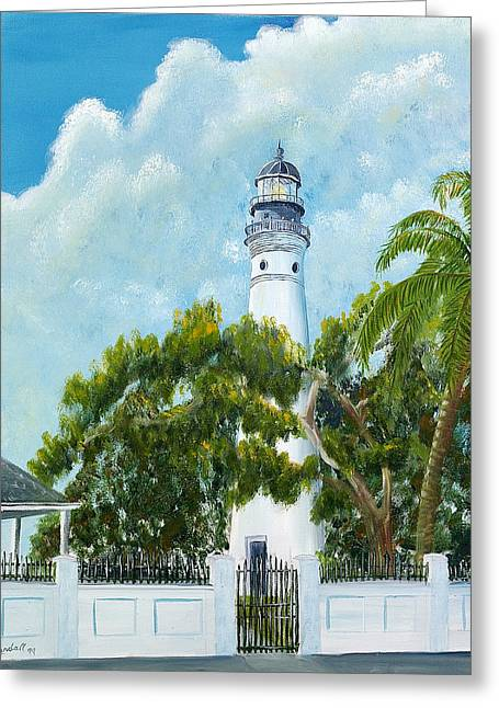 Brewer Paintings Greeting Cards - Key West Lighthouse Greeting Card by Randall Brewer