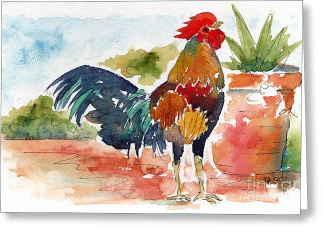 Key West Rooster Greeting Card by Pat Katz