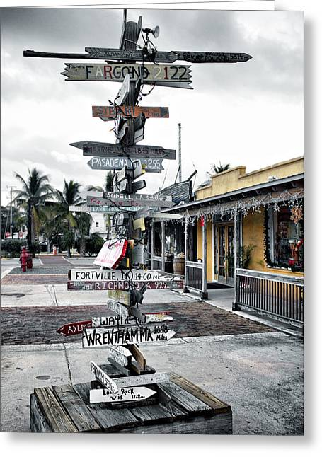 Nostalgic Sign Greeting Cards - Key West Wharf Greeting Card by Ellen Heaverlo