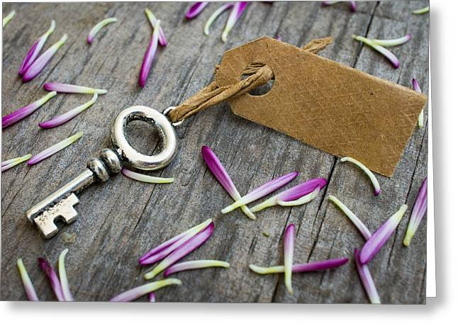 Old Wood Greeting Cards - Key with a label Greeting Card by Aged Pixel
