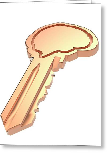 Key With Brain Shape Greeting Card by Alfred Pasieka