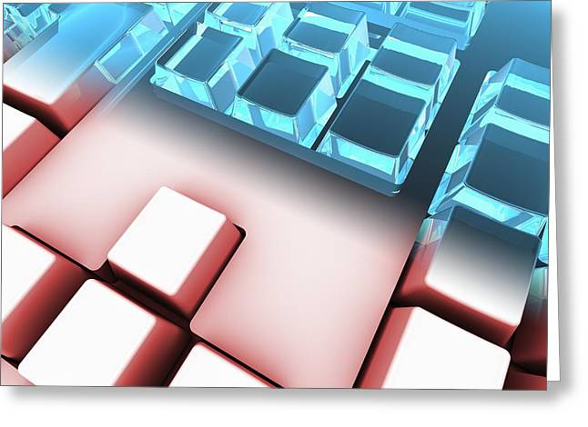 Hardware Greeting Cards - Keyboard, artwork Greeting Card by Science Photo Library