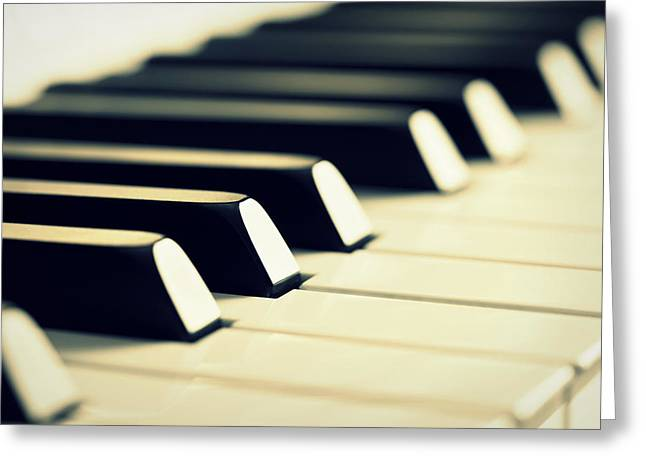 Piano Greeting Cards - Keyboard of a Piano Greeting Card by Chevy Fleet