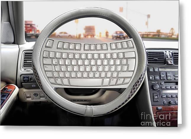 Steering Greeting Cards - Keyboard On Steering Wheel Greeting Card by Mike Agliolo