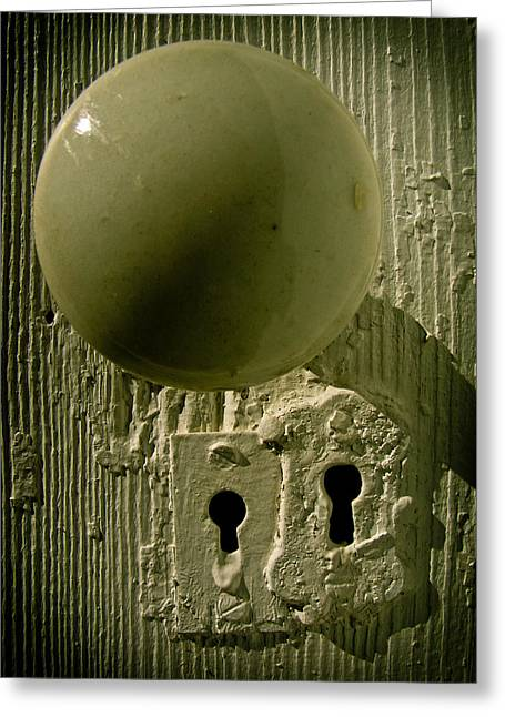 Old Door Greeting Cards - Keyholes Greeting Card by Jessica Brawley