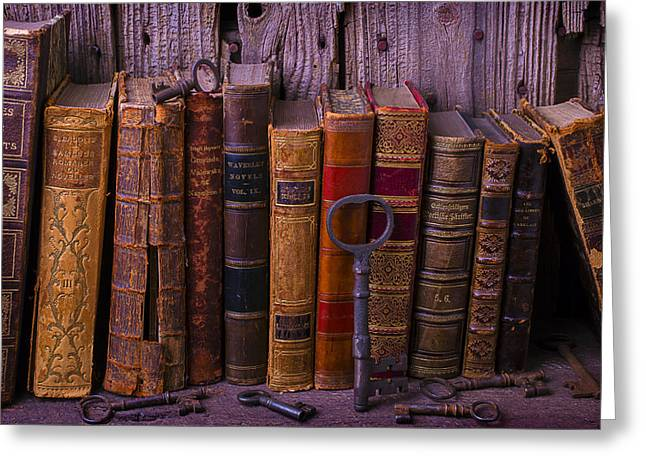Knowledge Object Greeting Cards - Keys and Books Greeting Card by Garry Gay